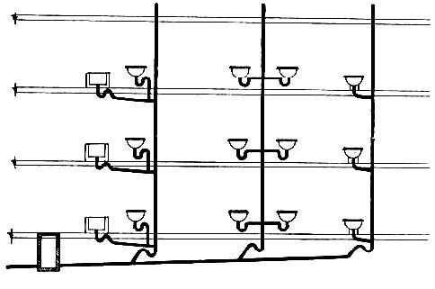 Plano común de tuberías en edificaciones